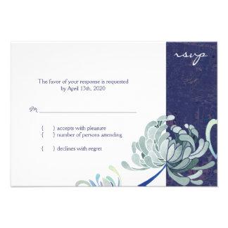 Momia RSVP que se casa floral (3.5x5) de los azule Invitación Personalizada