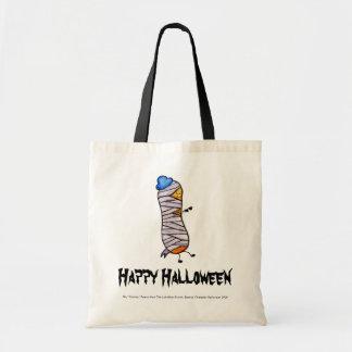 Momia tímida del cacahuete del feliz Halloween Bolsas Lienzo