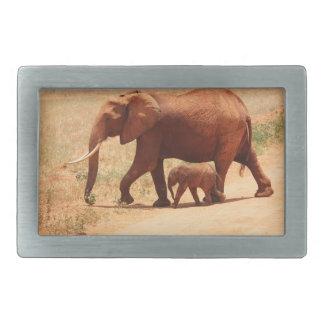Momia y Cub del elefante Hebilla Cinturon Rectangular