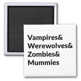 Momias de los zombis de los hombres lobos de los imanes de nevera