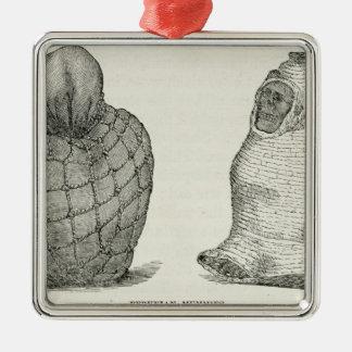 Momias peruanas adorno cuadrado plateado