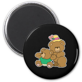 Momma and Baby Boy Bear 2 Inch Round Magnet