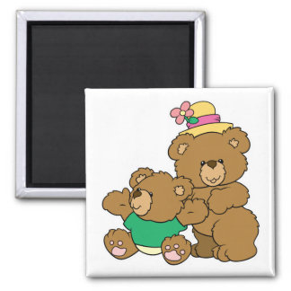 Momma and Baby Boy Bear 2 Inch Square Magnet