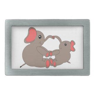 Momma and Baby Elephant Rectangular Belt Buckle