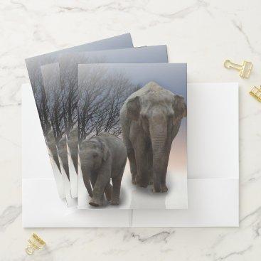 Beach Themed Momma and Baby Elephants Pocket Folder
