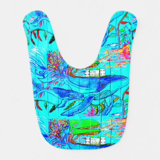 momma and baby whales baby bib
