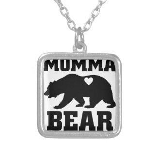 Momma Bear Best Gift Quote for mom shirt Silver Plated Necklace