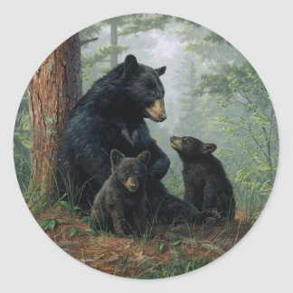 Momma Bear Classic Round Sticker