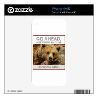 Momma Bear Momma Griz Go Ahead Mess With My Cubs.j iPhone 4S Skin