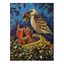 Momma Bird, Recycled Art Postcard