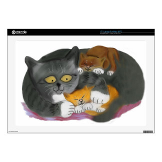 """Momma  Cat and her Two Kittens Decal For 17"""" Laptop"""