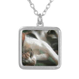 Momma Cat Silver Plated Necklace