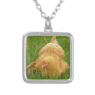 Momma chicken and baby chick silver plated necklace