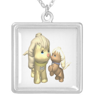 Momma Dog Silver Plated Necklace