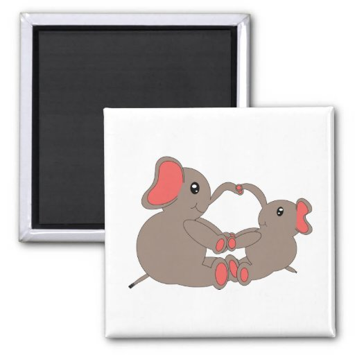 Momma e imán del elefante del bebé