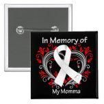 Momma - en corazón del cáncer de pulmón de la memo pin cuadrada 5 cm