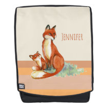 Momma Fox and Baby Watercolor Illustration Backpack