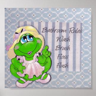 Momma Frog Bathroom Rules Wall Art