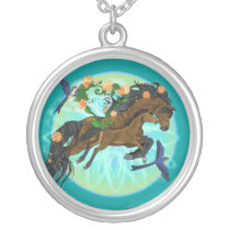 Momma Horse and foal Silver Plated Necklace