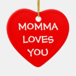 Momma Loves You Double-Sided Heart Ceramic Christmas Ornament