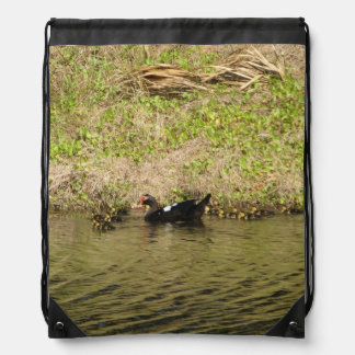Momma Muscovy and Baby Ducks Drawstring Backpacks