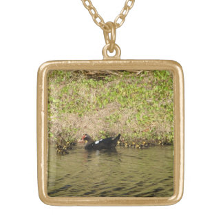Momma Muscovy and Baby Ducks Necklace