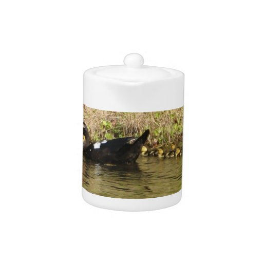 Momma Muscovy and Baby Ducks Teapot
