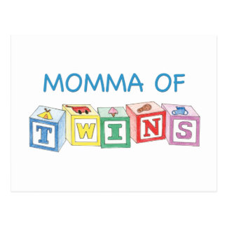 Momma of Twins Blocks Postcard