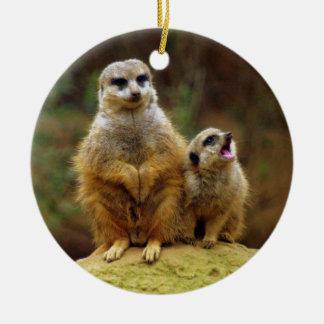 Momma y bebé Meerkat 1 ornamento Ornamente De Reyes