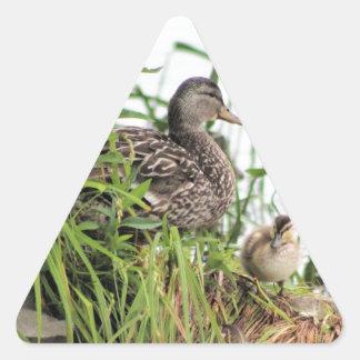 Momma y bebé pegatina triangular