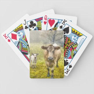 Momma y vaca del bebé baraja de cartas bicycle
