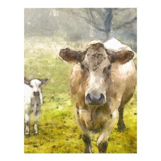 Momma y vaca del bebé membrete personalizado