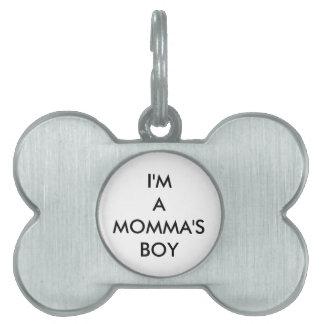 Momma's Boy Pet Name Tag