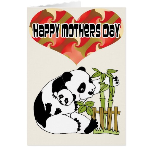 Mommie with Baby Panda Greeting Card