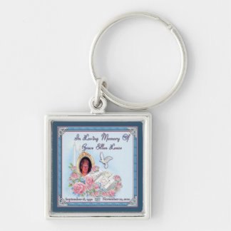 MomMom Lease Memorial  Silver Premium Keychain