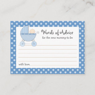 Mommy Advice Card Baby Shower Carriage Pink