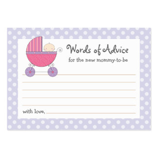 Mommy Advice Card Baby Shower Carriage | Pink Business Card Templates
