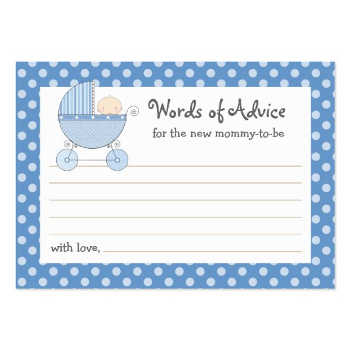Mommy Advice Card Baby Shower Carriage | Pink Business Card
