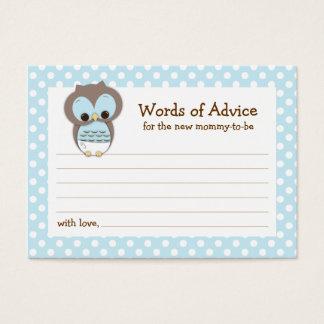 Mommy Advice Card Owl Baby Shower | Blue