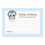 Mommy Advice Card Owl Baby Shower | Blue Large Business Cards (Pack Of 100)