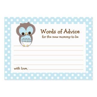 Mommy Advice Card Owl Baby Shower | Blue Business Card