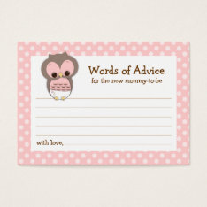 Mommy Advice Card Owl Baby Shower | Pink at Zazzle