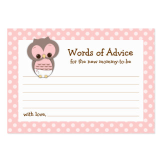 Mommy Advice Card Owl Baby Shower | Pink Large Business Cards (Pack Of 100)