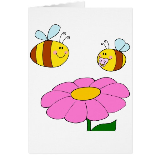 mommy and baby bee flying over flower cartoon card