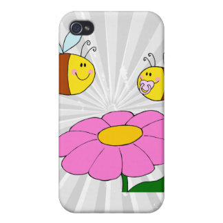 mommy and baby bee flying over flower cartoon case for iPhone 4
