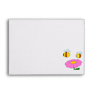 mommy and baby bee flying over flower cartoon envelopes