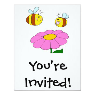 mommy and baby bee flying over flower cartoon personalized invite