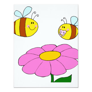 mommy and baby bee flying over flower cartoon announcement