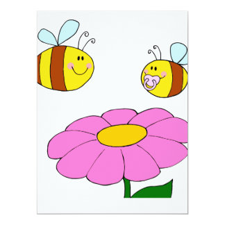 mommy and baby bee flying over flower cartoon invites