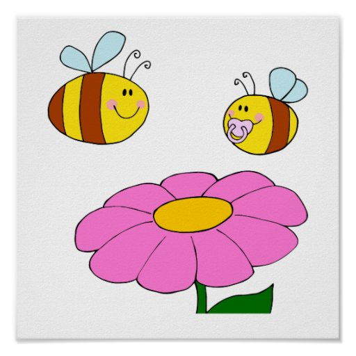 mommy and baby bee flying over flower cartoon print